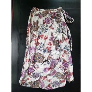 VINTAGE Boho Paisley Floral Flowy tie waist skirt